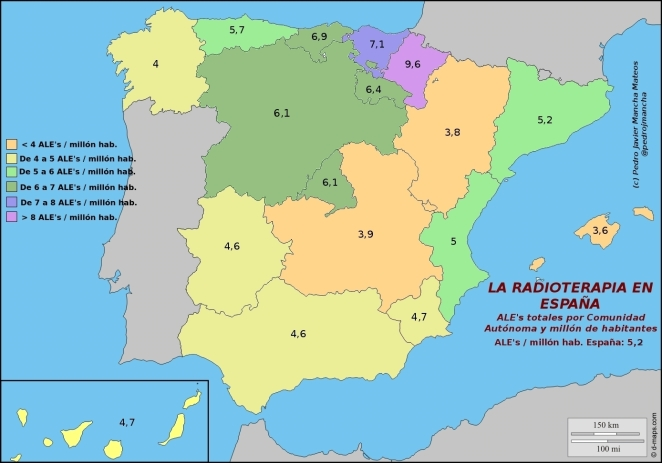 Linacs totales millon hab en España (Mod 20140114)