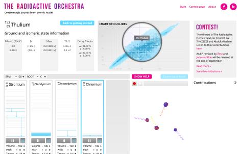 Página web de la orquesta para componer nuestra propia canción radioactiva.