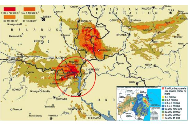 Comparación gráfica a idéntica escala (el círculo rojo tiene 100 kms de radio) de las áreas contaminadas por el accidente de Chernóbil y el de Fukushima (en el recuadro pequeño) (Wakeford, 2011)