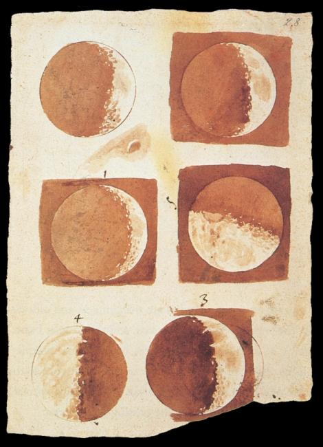 Dibujos de la luna hechos por Galileo. En cierto modo la interpretación de Galileo fue una mentira que ha resultado ser verdad.
