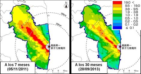 Evolución del mapa de tasas de dosis en las zonas más afectadas. Medidas a 1m de altura sobre el suelo. Datos en microSievert por hora (Fuente: NRA, Japón). Como referencia, la tasa de dosis ambiental en Madrid, por causas naturales, es de 0.2 microSievert por hora.