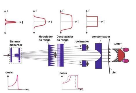 Esquema de un sistema pasivo de conformación (adaptada de Schardt el al. Rev. Mod. Phys. 82, 383-425, 2010)