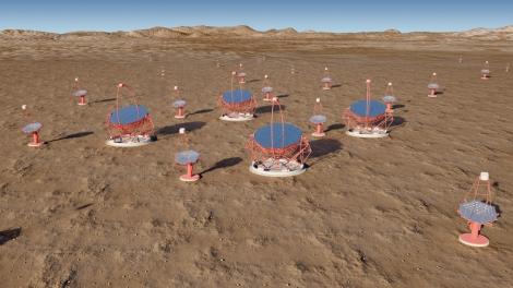 Modelado por ordenador de los que podría ser uno de los dos observatorios de CTA, compuesto por telescopios de distintos tamaños. Los mayores tendrían un diámetro de 23 metro. G.Pérez. IAC, SMM.