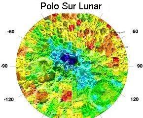 En color rojo las zonas más radiactivas, en azul las menos, provocadas por los neutrones.  Fuente: Lunar Prospector, NASA.