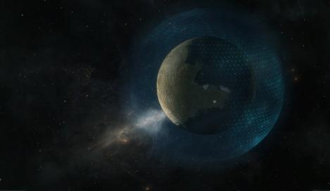 """Cuerpo espacial dentro de una """"cáscara"""" en proceso de terraformación. Fuente: Novus Aeterno."""