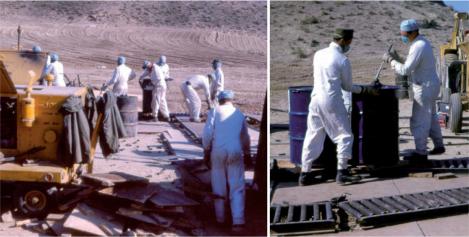 Trabajos iniciales de descontaminación de la zona de Palomares tras el accidente.