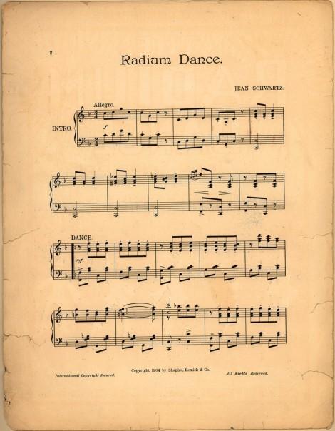 """Partituras del musical """"The Radium Dance"""""""