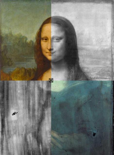 La Gioconda, desvelada por fotones del rango visible (superior izquierda), infrarrojos (superior derecha), rayos X (inferior izquierda) y ultravioletas (inferior derecha). Merece la pena un vistazo a http://focus.louvre.fr/en