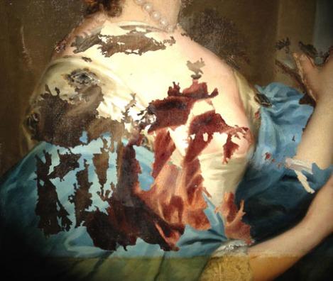 No es arte moderno: es el cuadro de Henrietta Maria en pleno proceso de restauración, una mezcla de arte de los siglos XVII y XVIII.