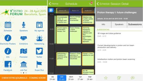Capturas de pantalla de la ESTRO Forum app