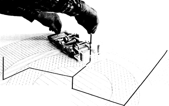 Ejemplo de uso del FERMIAC sobre un gráfico bidimensional. El dispositivo puede verse en el Bradbury Science Museum en Los Alamos