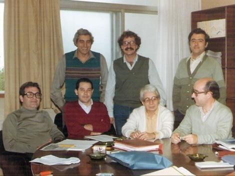 El comité: de pie y de izquierda a derecha, Juan Gultresa, Pedro Andreo y Diego Gómez Vela; sentados y a mi izquierda, Javier Vivanco, Celestina Serrano y José Luis Mincholé.