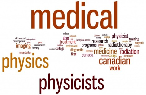 "Word cloud from the Canadian Organization of Medical Physicists webpage on ""What is Medical Physics?"" (http://www.medphys.ca/content.php?doc=9)"
