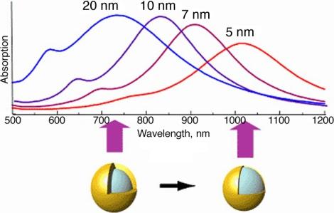 Representación esquemática de nanocáscaras de oro: consiste en una nanoesfera de sílice recubierta por una fina capa de oro. Se producen cargas en ambas paredes y entonces el plasmón se acopla desde una cara a la otra de la nanocáscara: es un plasmón muy localizado. Cuanto más fina sea la pared más se corre la resonancia hacia el rojo.