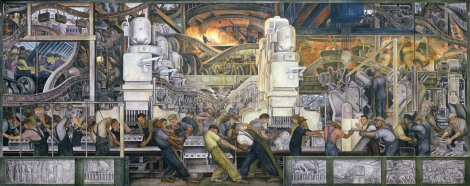 DTR269074 Detroit Industry, North Wall, 1932-33 (fresco) (detail of 139314) by Rivera, Diego (1886-1957); Detroit Institute of Arts, USA; (add.info.: commissioned by Edsel B. Ford (1893-1943) to celebrate America's industrial might;); Gift of Edsel B. Ford; PERMISSION REQUIRED FOR NON EDITORIAL USAGE; Mexican,  in copyright  PLEASE NOTE: This image is protected by artist's copyright which needs to be cleared by you. If you require assistance in clearing permission we will be pleased to help you. In addition, we work with the owner of the image to clear permission. If you wish to reproduce this image, please inform us so we can clear permission for you.